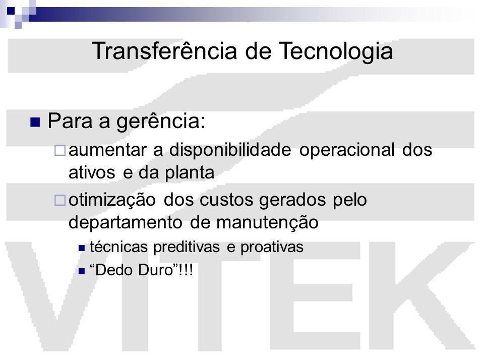 Transferência de Tecnologia Para a gerência: aumentar a disponibilidade operacional dos ativos e da planta otimização dos custos gerados pelo departam