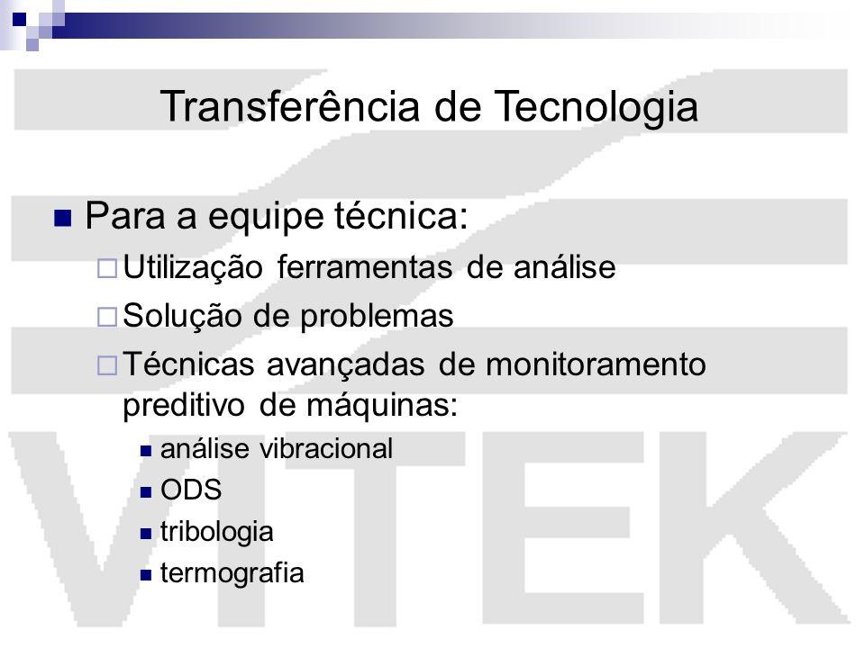 Transferência de Tecnologia Para a equipe técnica: Utilização ferramentas de análise Solução de problemas Técnicas avançadas de monitoramento preditiv