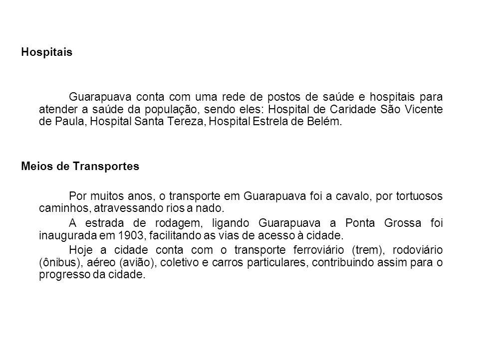 Hospitais Guarapuava conta com uma rede de postos de saúde e hospitais para atender a saúde da população, sendo eles: Hospital de Caridade São Vicente de Paula, Hospital Santa Tereza, Hospital Estrela de Belém.