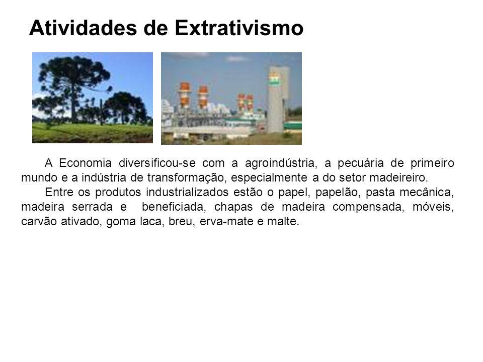 Atividades de Extrativismo A Economia diversificou-se com a agroindústria, a pecuária de primeiro mundo e a indústria de transformação, especialmente a do setor madeireiro.