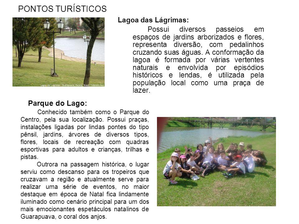 PONTOS TURÍSTICOS Lagoa das Lágrimas: Possui diversos passeios em espaços de jardins arborizados e flores, representa diversão, com pedalinhos cruzando suas águas.