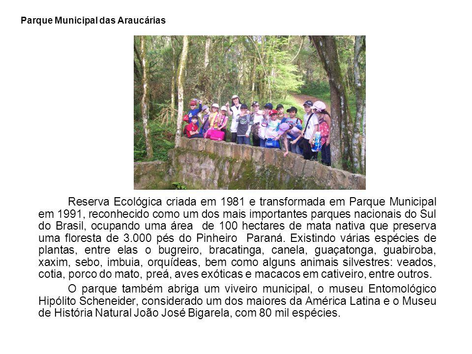 Parque Municipal das Araucárias Reserva Ecológica criada em 1981 e transformada em Parque Municipal em 1991, reconhecido como um dos mais importantes parques nacionais do Sul do Brasil, ocupando uma área de 100 hectares de mata nativa que preserva uma floresta de 3.000 pés do Pinheiro Paraná.