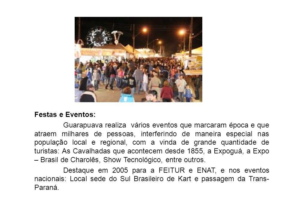 Festas e Eventos: Guarapuava realiza vários eventos que marcaram época e que atraem milhares de pessoas, interferindo de maneira especial nas população local e regional, com a vinda de grande quantidade de turistas: As Cavalhadas que acontecem desde 1855, a Expoguá, a Expo – Brasil de Charolês, Show Tecnológico, entre outros.