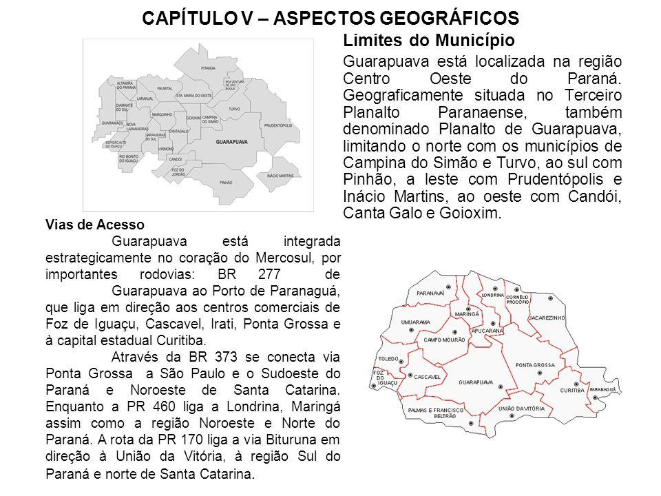 CAPÍTULO V – ASPECTOS GEOGRÁFICOS Limites do Município Guarapuava está localizada na região Centro Oeste do Paraná.