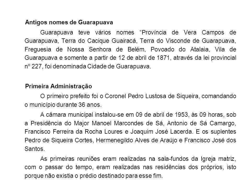 Antigos nomes de Guarapuava Guarapuava teve vários nomes Província de Vera Campos de Guarapuava, Terra do Cacique Guairacá, Terra do Visconde de Guarapuava, Freguesia de Nossa Senhora de Belém, Povoado do Atalaia, Vila de Guarapuava e somente a partir de 12 de abril de 1871, através da lei provincial nº 227, foi denominada Cidade de Guarapuava.