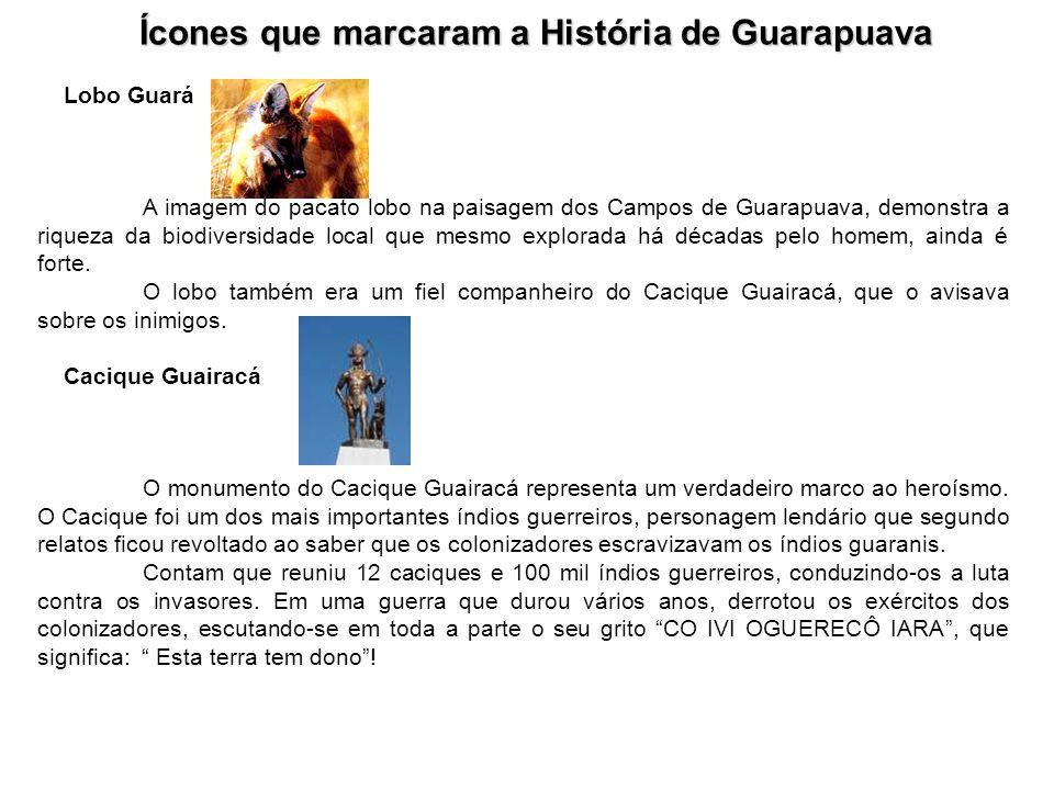 Ícones que marcaram a História de Guarapuava Lobo Guará A imagem do pacato lobo na paisagem dos Campos de Guarapuava, demonstra a riqueza da biodiversidade local que mesmo explorada há décadas pelo homem, ainda é forte.