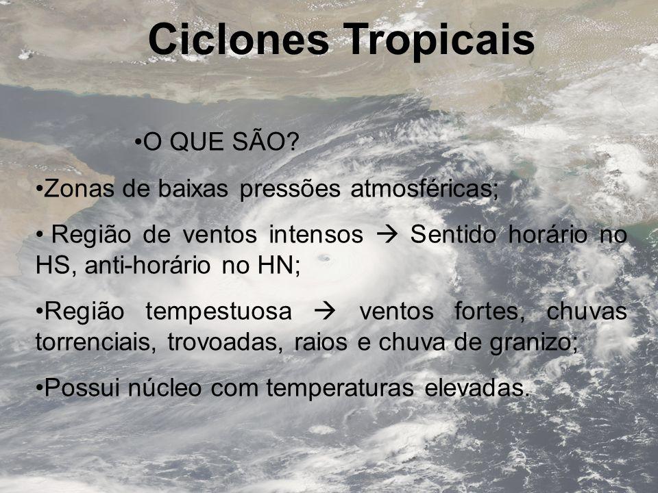 Movimento e Trajetória Localização Em geral, deslocam-se para oeste; Gradualmente afastando-se da Linha do Equador; 10º a 30º (1000 a 3000 km) do Equador; Menos de 5º é incomum, já que Coriollis é desprezado Embora existam: Exemplos: Tempestade Tropical Vamei(2001) e Ciclone Agne(2004)
