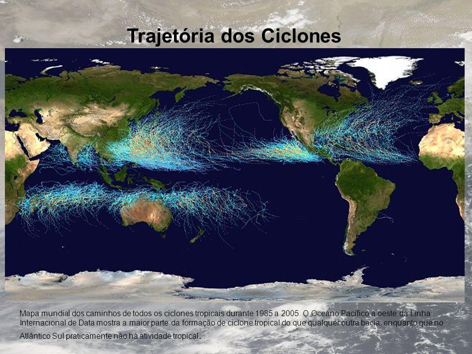 Trajetória dos Ciclones Mapa mundial dos caminhos de todos os ciclones tropicais durante 1985 a 2005. O Oceano Pacífico a oeste da Linha Internacional