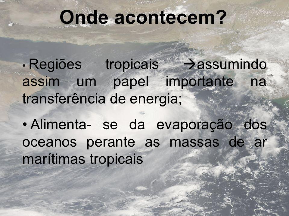 Onde acontecem? Regiões tropicais assumindo assim um papel importante na transferência de energia; Alimenta- se da evaporação dos oceanos perante as m