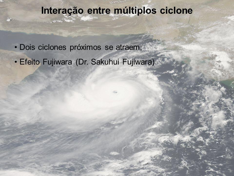 Interação entre múltiplos ciclone Dois ciclones próximos se atraem; Efeito Fujiwara (Dr. Sakuhui Fujiwara)