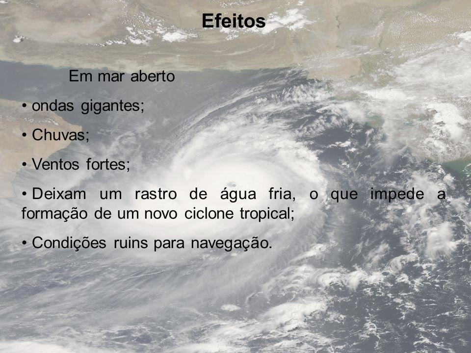 Efeitos Em mar aberto ondas gigantes; Chuvas; Ventos fortes; Deixam um rastro de água fria, o que impede a formação de um novo ciclone tropical; Condi
