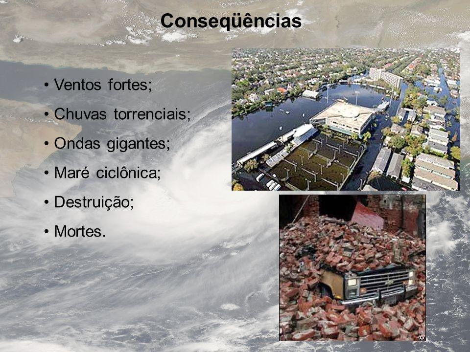 Ciclones Tropicais Formam-se sobre águas mornas; Perdem força ao encontrar o continente; A maré pode atingir 40 km em geral, regiões não costeiras não são atingidas, a não ser pelo aumento do vento.
