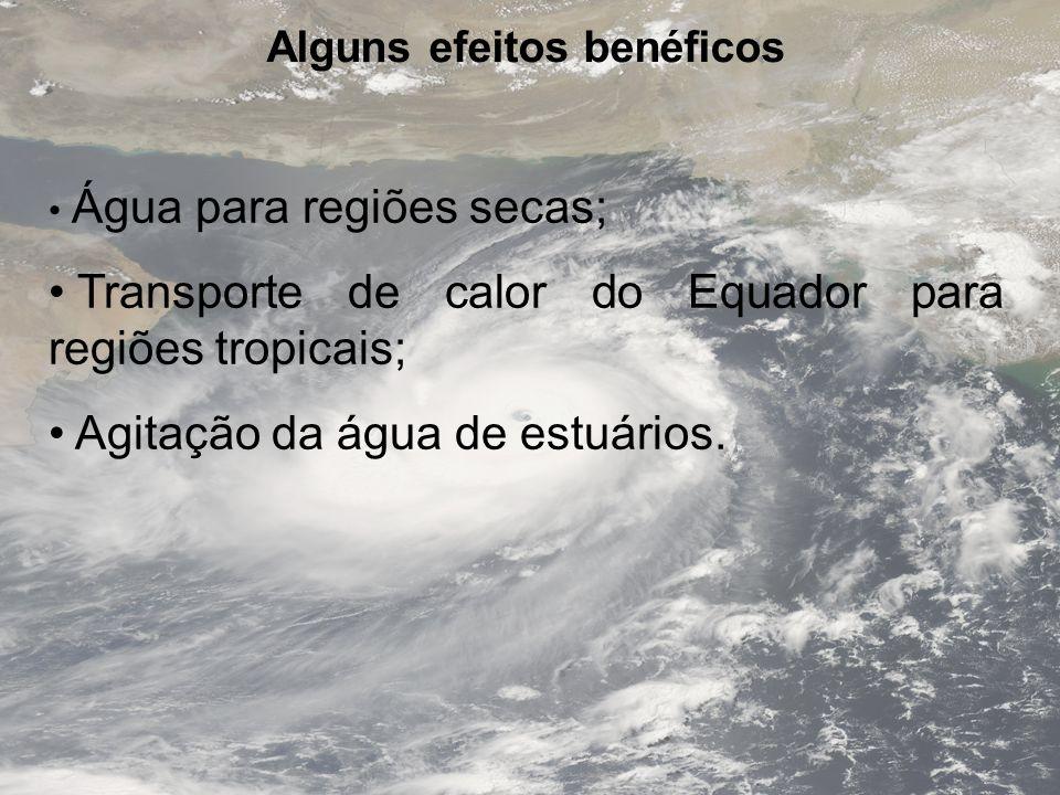 Alguns efeitos benéficos Água para regiões secas; Transporte de calor do Equador para regiões tropicais; Agitação da água de estuários.