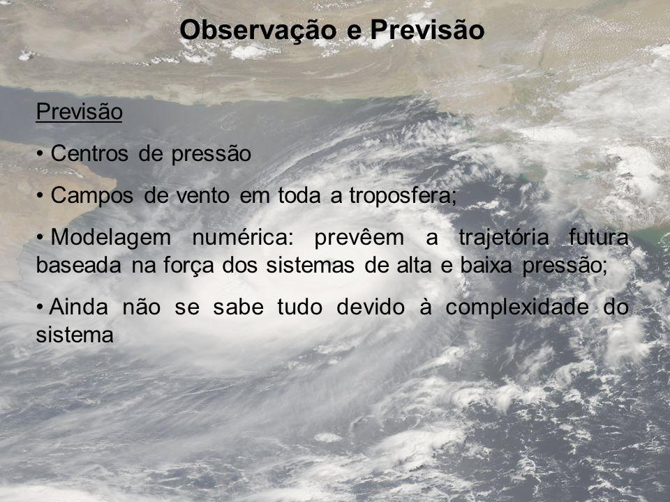 Observação e Previsão Previsão Centros de pressão Campos de vento em toda a troposfera; Modelagem numérica: prevêem a trajetória futura baseada na for