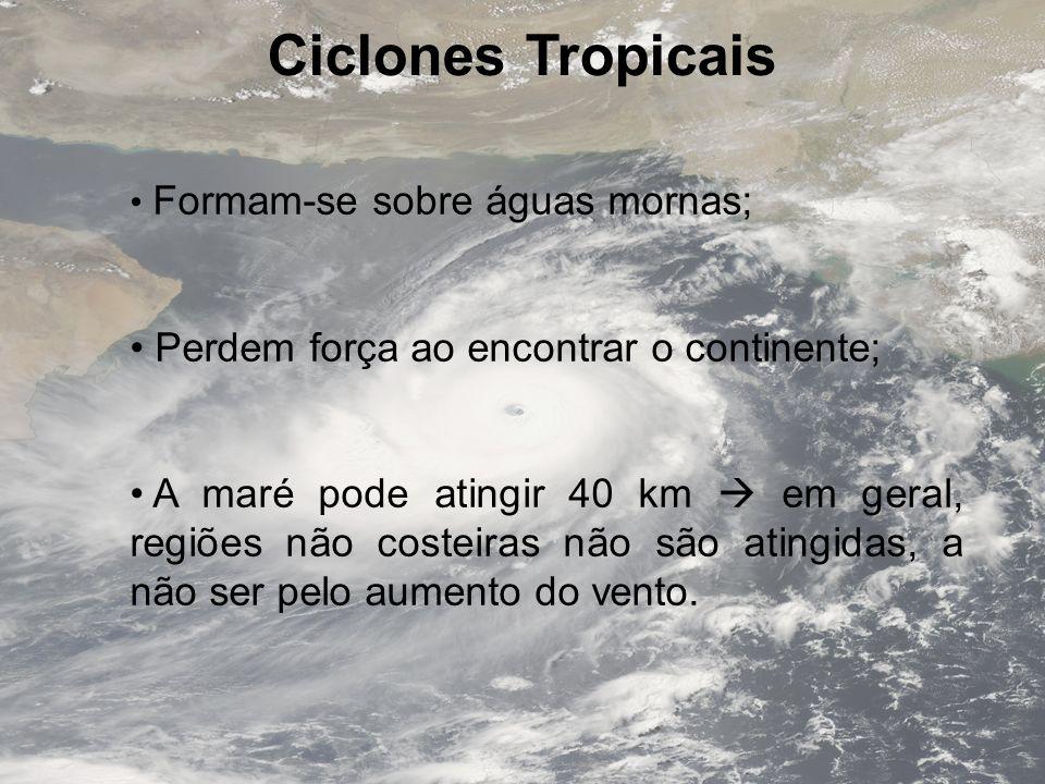 Ciclones Tropicais Formam-se sobre águas mornas; Perdem força ao encontrar o continente; A maré pode atingir 40 km em geral, regiões não costeiras não