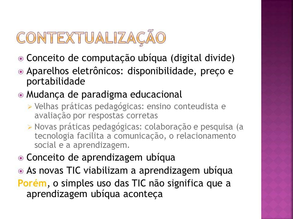 Conceito de computação ubíqua (digital divide) Aparelhos eletrônicos: disponibilidade, preço e portabilidade Mudança de paradigma educacional Velhas práticas pedagógicas: ensino conteudista e avaliação por respostas corretas Novas práticas pedagógicas: colaboração e pesquisa (a tecnologia facilita a comunicação, o relacionamento social e a aprendizagem.