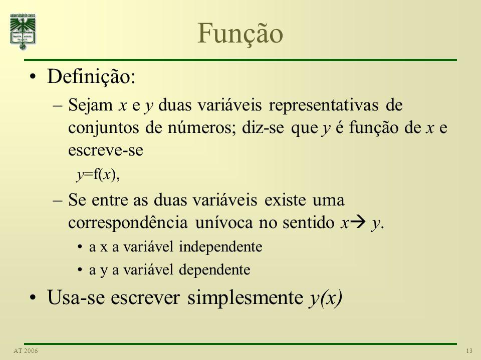12AT 2006 Variável Seja E um conjunto qualquer de números, finito ou infinito, e convencionemos representar qualquer dos seus elementos por um símbolo