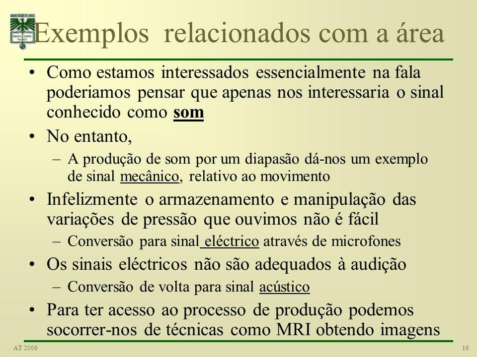 15AT 2006 Exemplos de sinais Os sinais são um componente básico das nossas vidas Exemplos: –Uma forma comum de comunicação usa o sinal de voz –Outra f