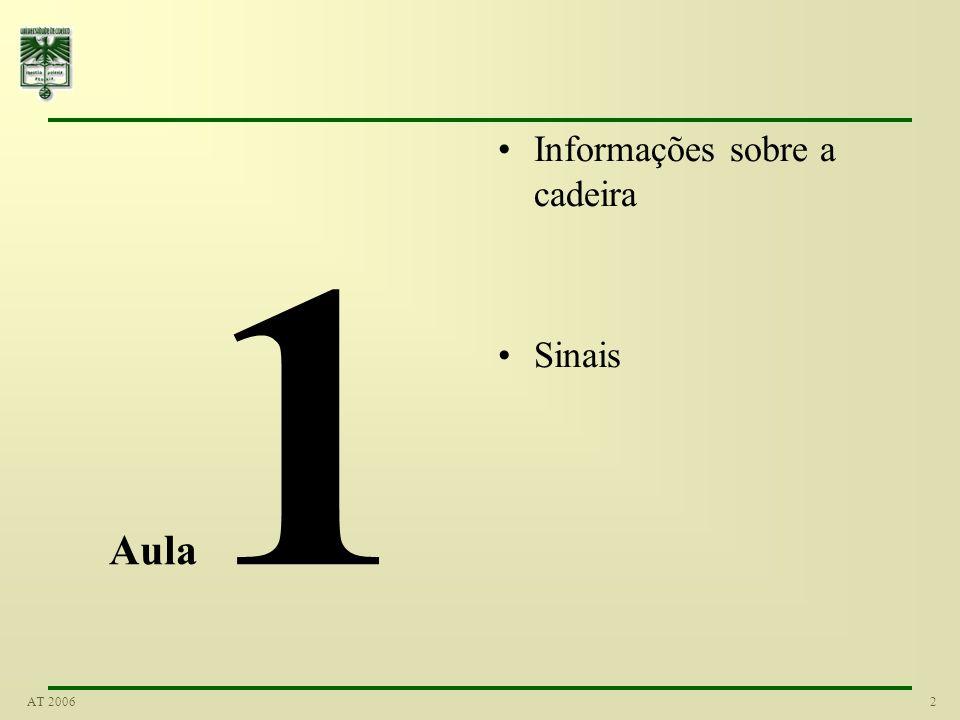 32AT 2006 Valor RMS A solução passa por calcular o quadrado dos desvios (relativamente à pressão atmosférica) Ficando apenas com valores positivos Todos os desvios são somados Efectuada a média, dividindo pelo período Finalmente, para compensar o elevar ao quadrado inicial, efectua-se a operação inversa - raiz quadrada Temos assim o valor root mean square ou RMS