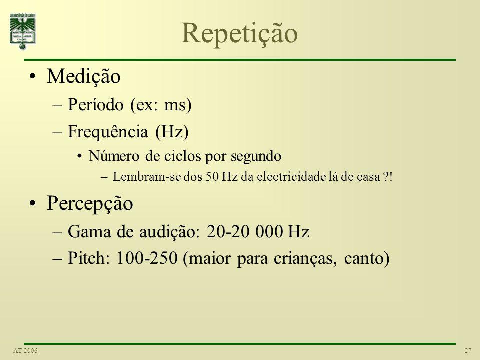 26AT 2006 Sinusóide Formula geral A cos (w o t + ) A - amplitude w o - frequência angular - fase Exemplo de sinal sinusóidal: o produzido por um diapa