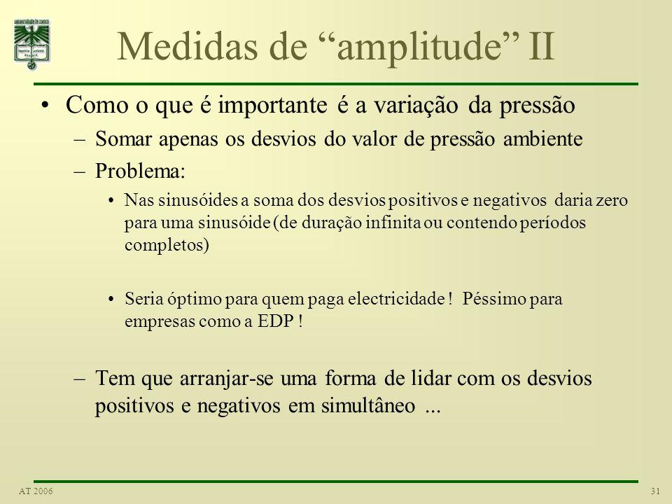 30AT 2006 Medidas de amplitude Uma forma de quantificar a diferença em amplitude de dois sinais é medir a diferença entre os máximos (picos) e mínimos
