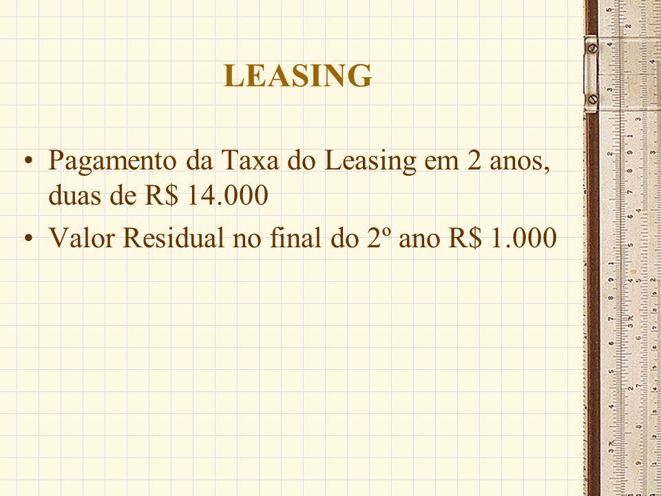 LEASING Pagamento da Taxa do Leasing em 2 anos, duas de R$ 14.000 Valor Residual no final do 2º ano R$ 1.000