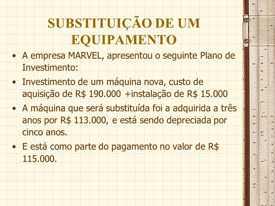 SUBSTITUIÇÃO DE UM EQUIPAMENTO A empresa MARVEL, apresentou o seguinte Plano de Investimento: Investimento de um máquina nova, custo de aquisição de R
