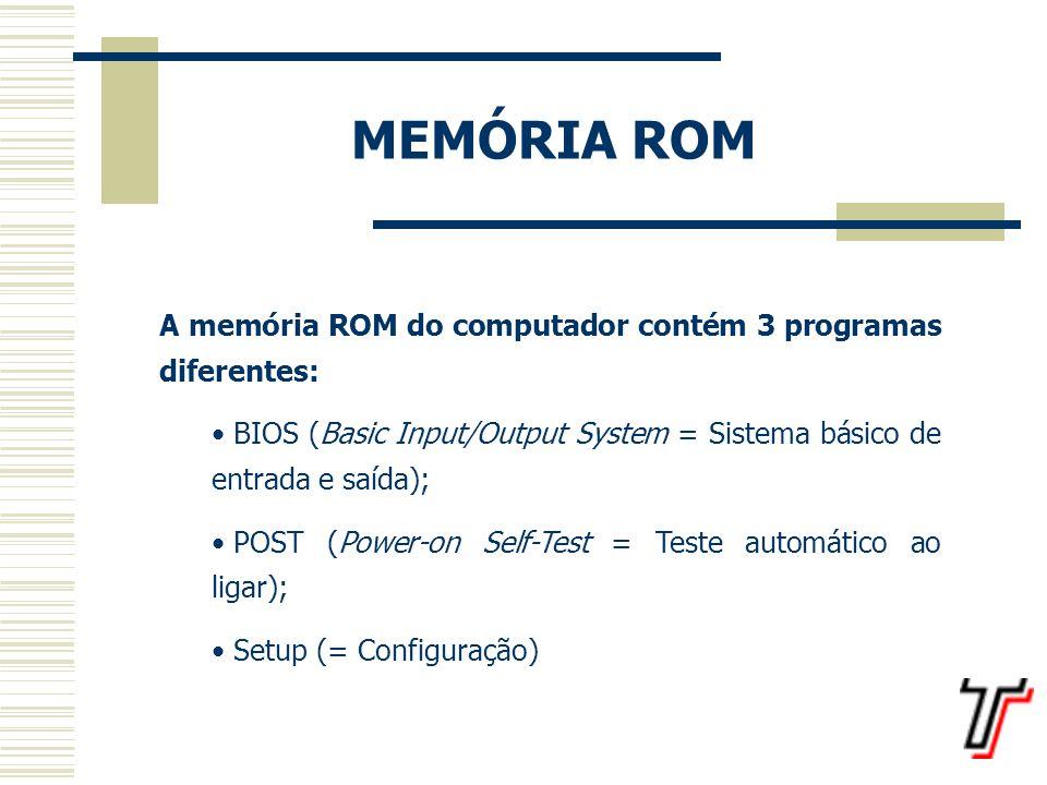 BIOS BIOS (Basic Input/Output System = Sistema básico de entrada e saída) um conjunto de rotinas utilizadas para acesso aos componentes do computador.