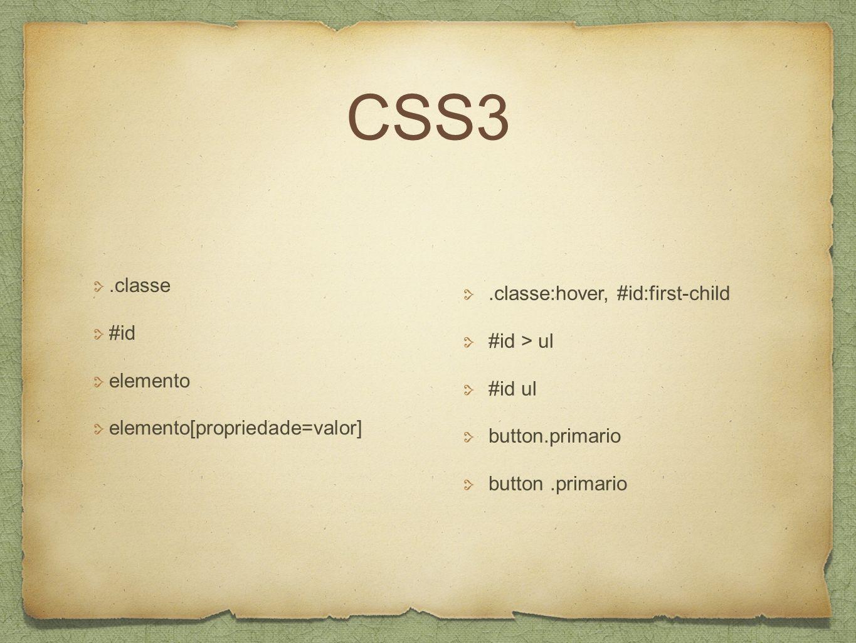CSS3.classe #id elemento elemento[propriedade=valor].classe:hover, #id:first-child #id > ul #id ul button.primario