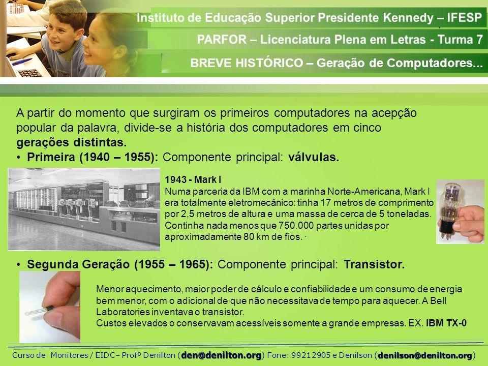 Aula 01 den@denilton.org denilson@denilton.org Curso de Monitores / EIDC– Profº Denilton ( den@denilton.org ) Fone: 99212905 e Denilson (denilson@denilton.org) Terceira Geração (1965–1980):Componente principal: Circuitos Integrados-CI Quarta Geração (1980–1990): Componente principal: CI.