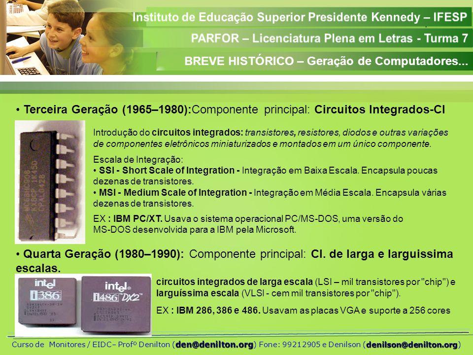 Aula 01 den@denilton.org denilson@denilton.org Curso de Monitores / EIDC– Profº Denilton ( den@denilton.org ) Fone: 99212905 e Denilson (denilson@denilton.org) Quinta Geração (1990...): Componente principal: CI.