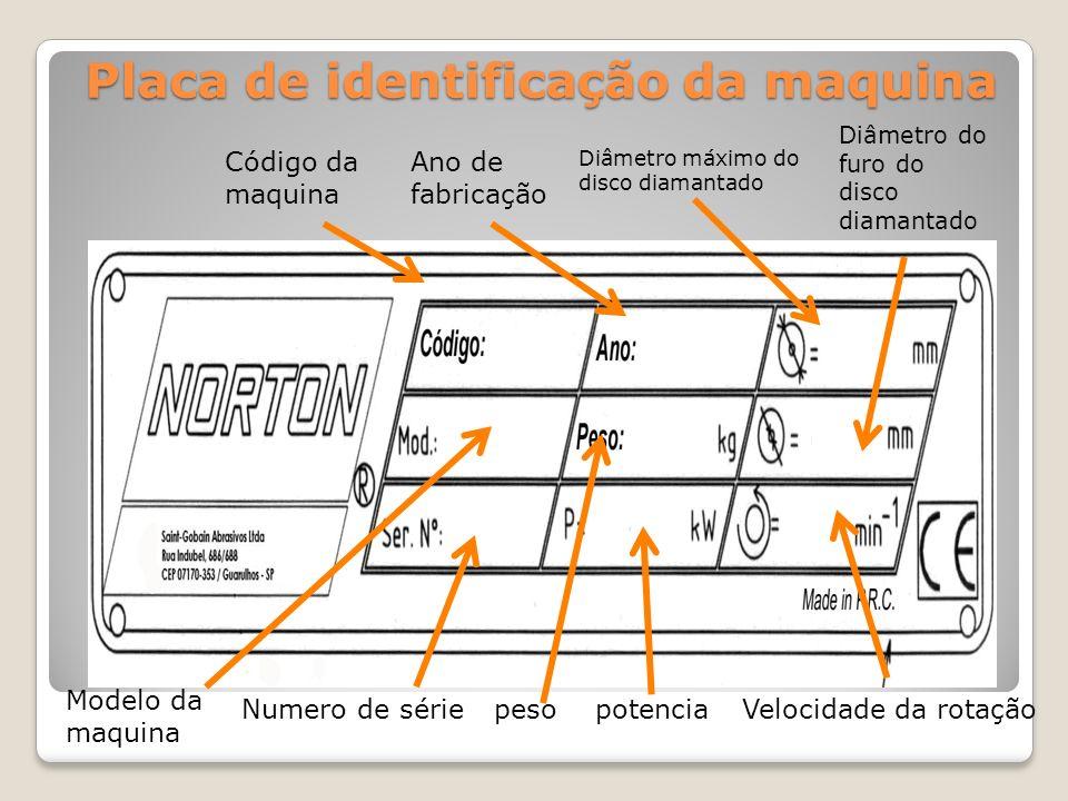 Placa de identificação da maquina Código da maquina Ano de fabricação Diâmetro máximo do disco diamantado Diâmetro do furo do disco diamantado Modelo