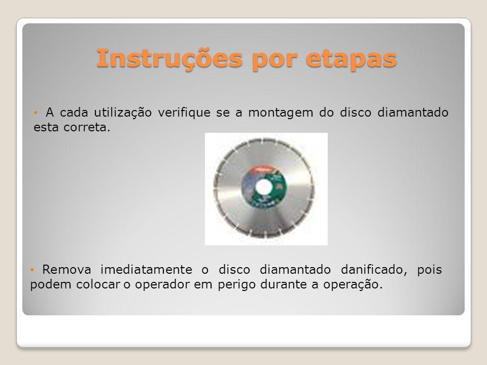 Instruções por etapas A cada utilização verifique se a montagem do disco diamantado esta correta. Remova imediatamente o disco diamantado danificado,