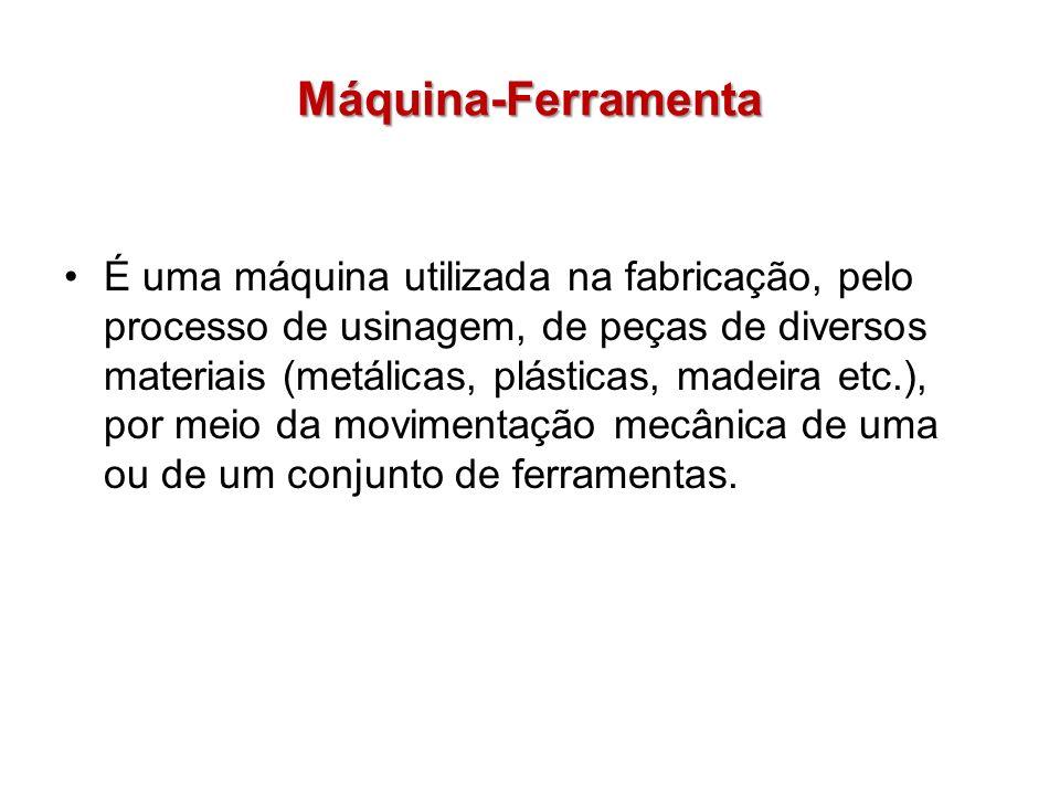 Máquina-Ferramenta É uma máquina utilizada na fabricação, pelo processo de usinagem, de peças de diversos materiais (metálicas, plásticas, madeira etc