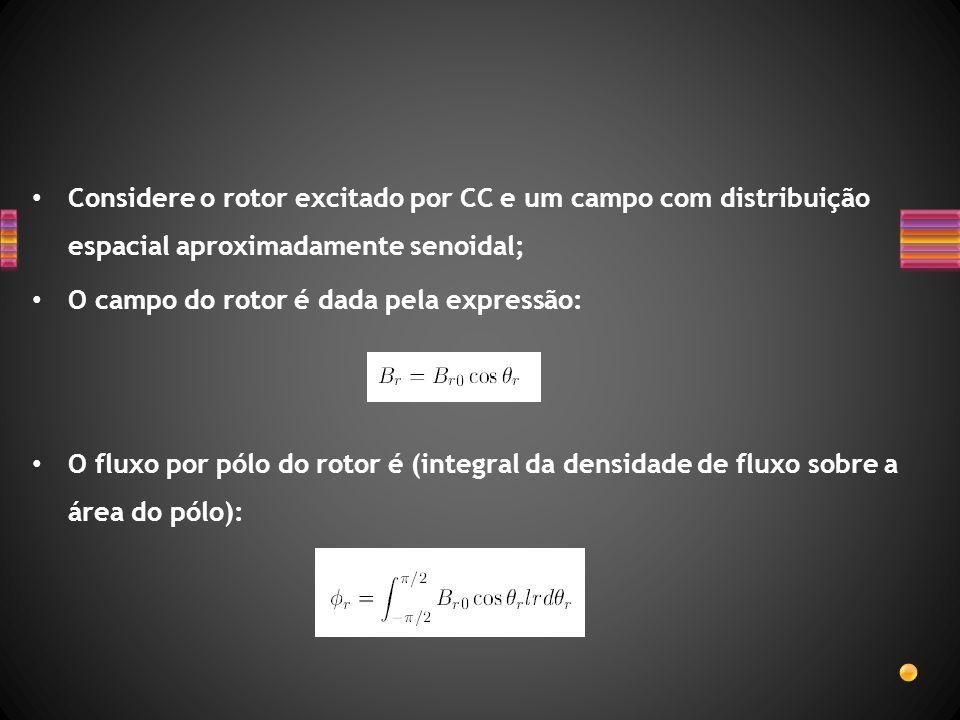 Considere o rotor excitado por CC e um campo com distribuição espacial aproximadamente senoidal; O campo do rotor é dada pela expressão: O fluxo por p