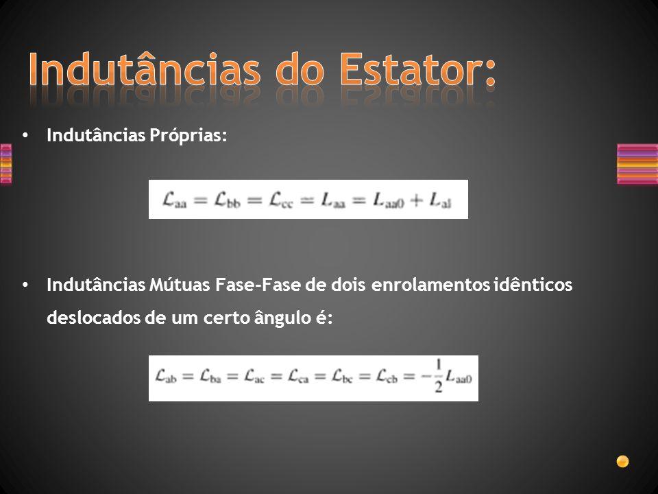 Indutâncias Próprias: Indutâncias Mútuas Fase-Fase de dois enrolamentos idênticos deslocados de um certo ângulo é: