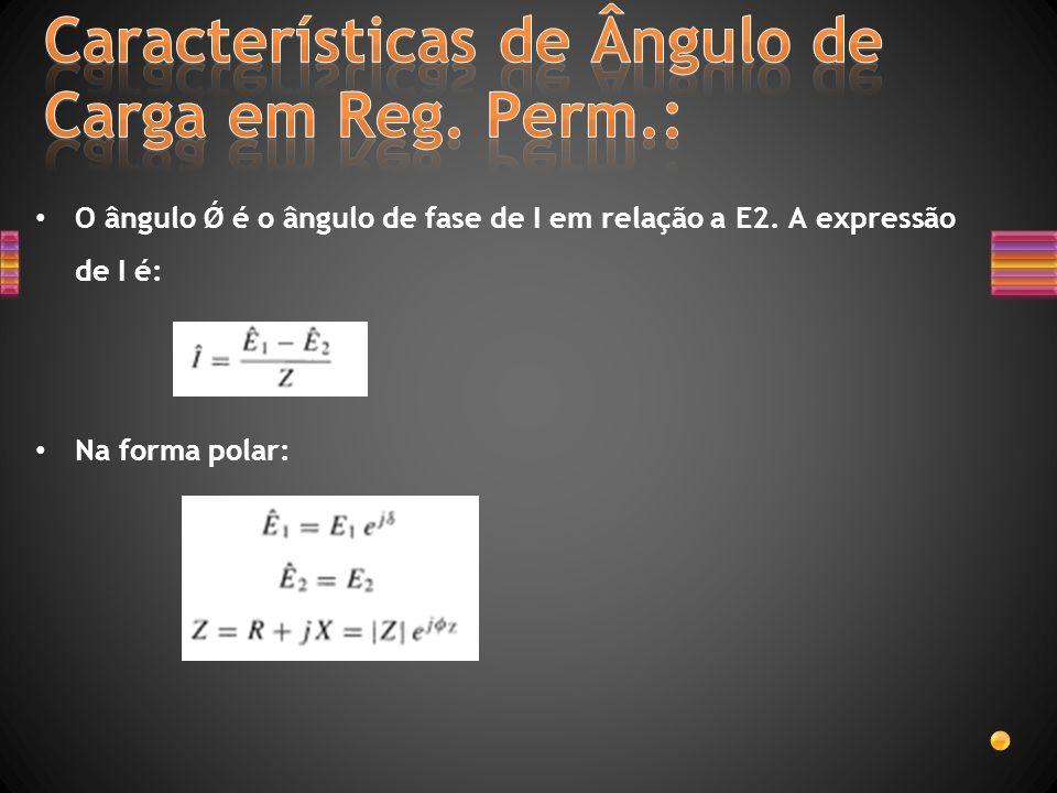 O ângulo Ǿ é o ângulo de fase de I em relação a E2. A expressão de I é: Na forma polar: