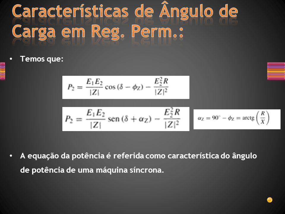 Temos que: A equação da potência é referida como característica do ângulo de potência de uma máquina síncrona.