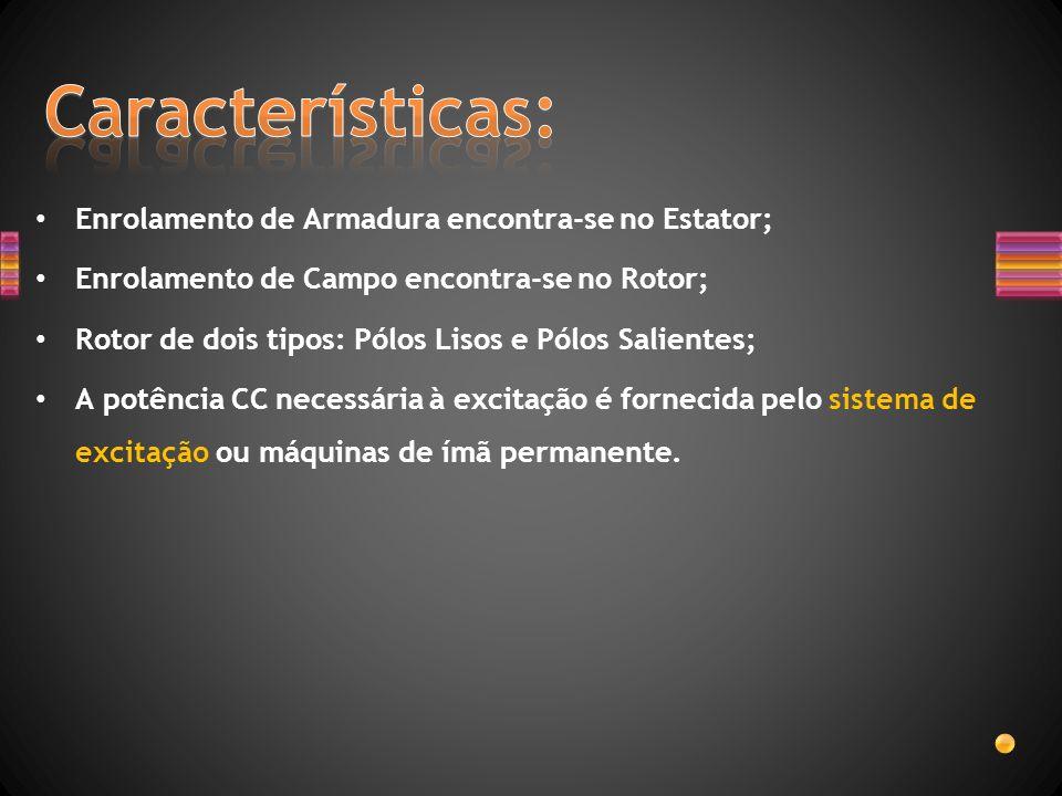 Enrolamento de Armadura encontra-se no Estator; Enrolamento de Campo encontra-se no Rotor; Rotor de dois tipos: Pólos Lisos e Pólos Salientes; A potên