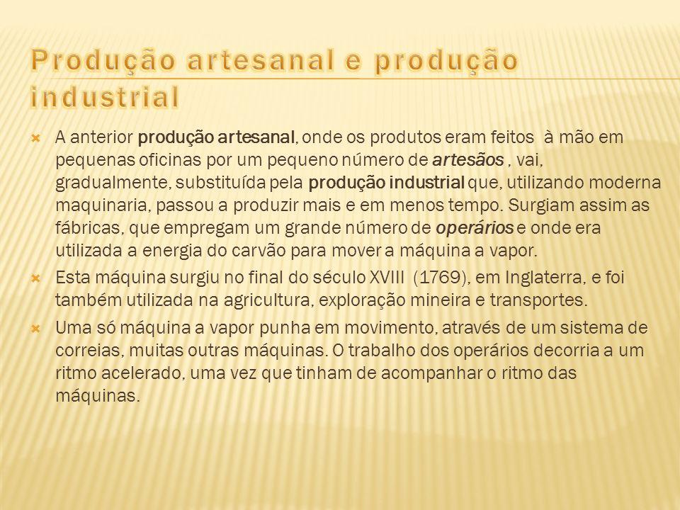 A anterior produção artesanal, onde os produtos eram feitos à mão em pequenas oficinas por um pequeno número de artesãos, vai, gradualmente, substituí