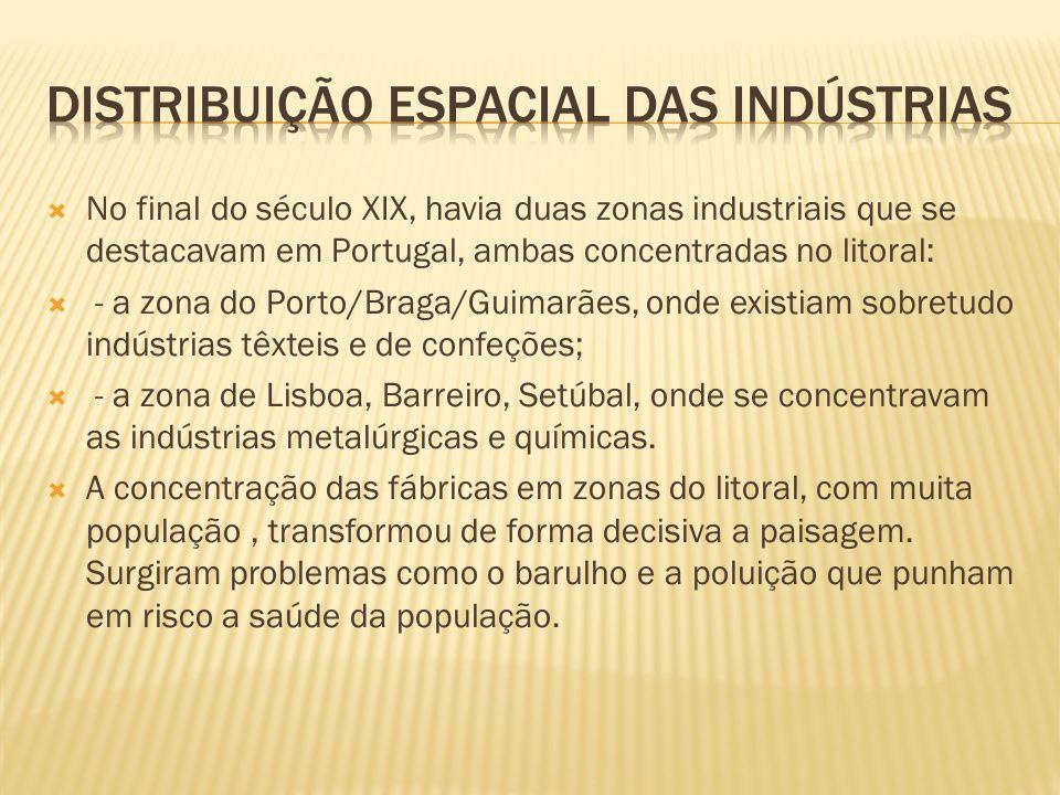No final do século XIX, havia duas zonas industriais que se destacavam em Portugal, ambas concentradas no litoral: - a zona do Porto/Braga/Guimarães,