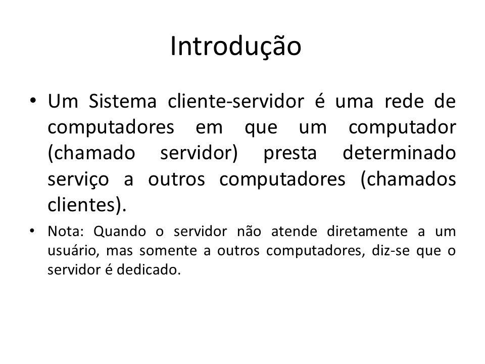 Introdução Um Sistema cliente-servidor é uma rede de computadores em que um computador (chamado servidor) presta determinado serviço a outros computad