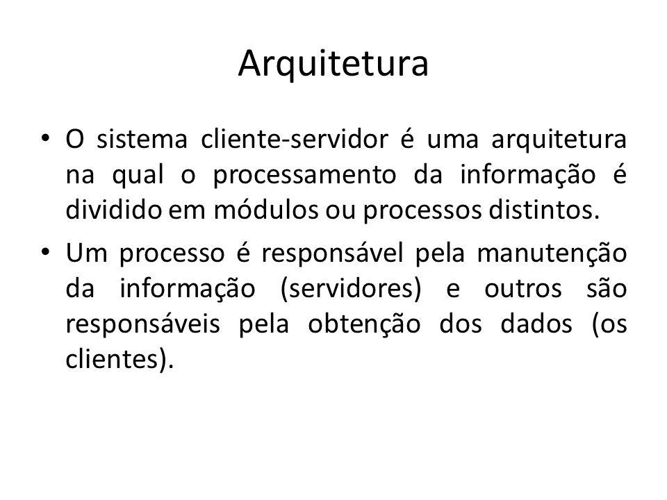 Arquitetura O sistema cliente-servidor é uma arquitetura na qual o processamento da informação é dividido em módulos ou processos distintos. Um proces