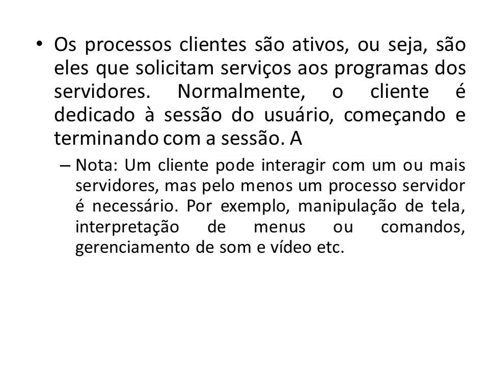 Os processos clientes são ativos, ou seja, são eles que solicitam serviços aos programas dos servidores. Normalmente, o cliente é dedicado à sessão do