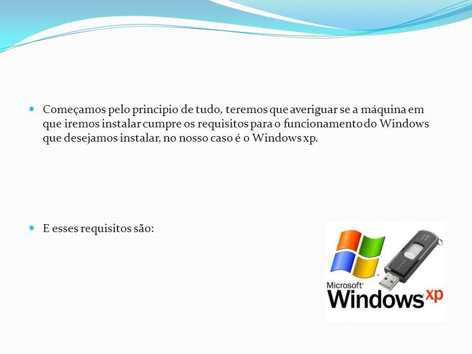 Começamos pelo principio de tudo, teremos que averiguar se a máquina em que iremos instalar cumpre os requisitos para o funcionamento do Windows que d
