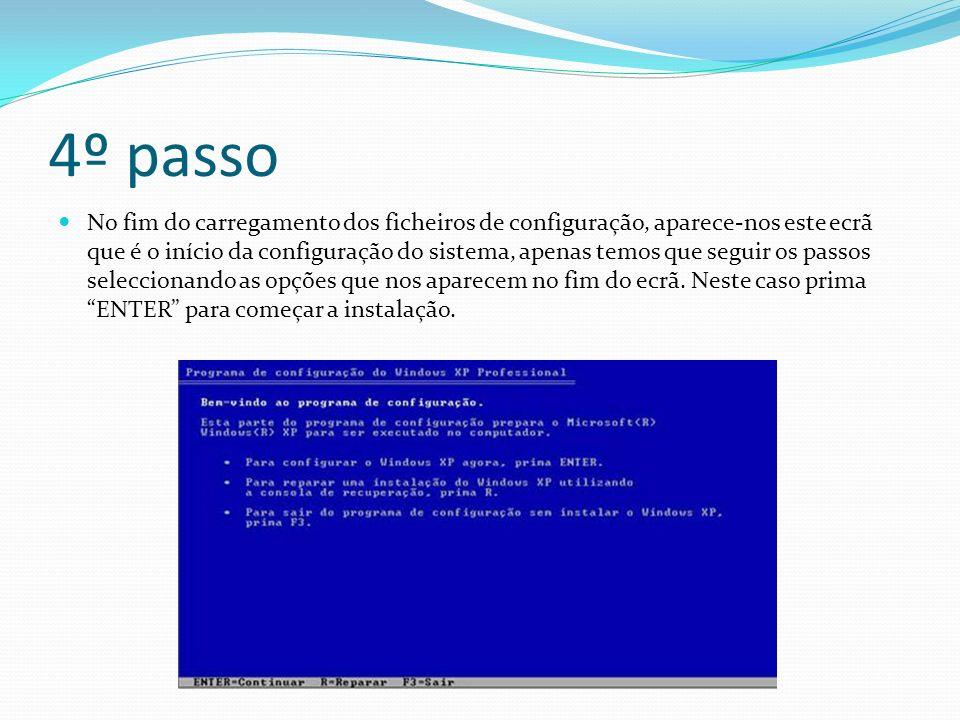 4º passo No fim do carregamento dos ficheiros de configuração, aparece-nos este ecrã que é o início da configuração do sistema, apenas temos que seguir os passos seleccionando as opções que nos aparecem no fim do ecrã.