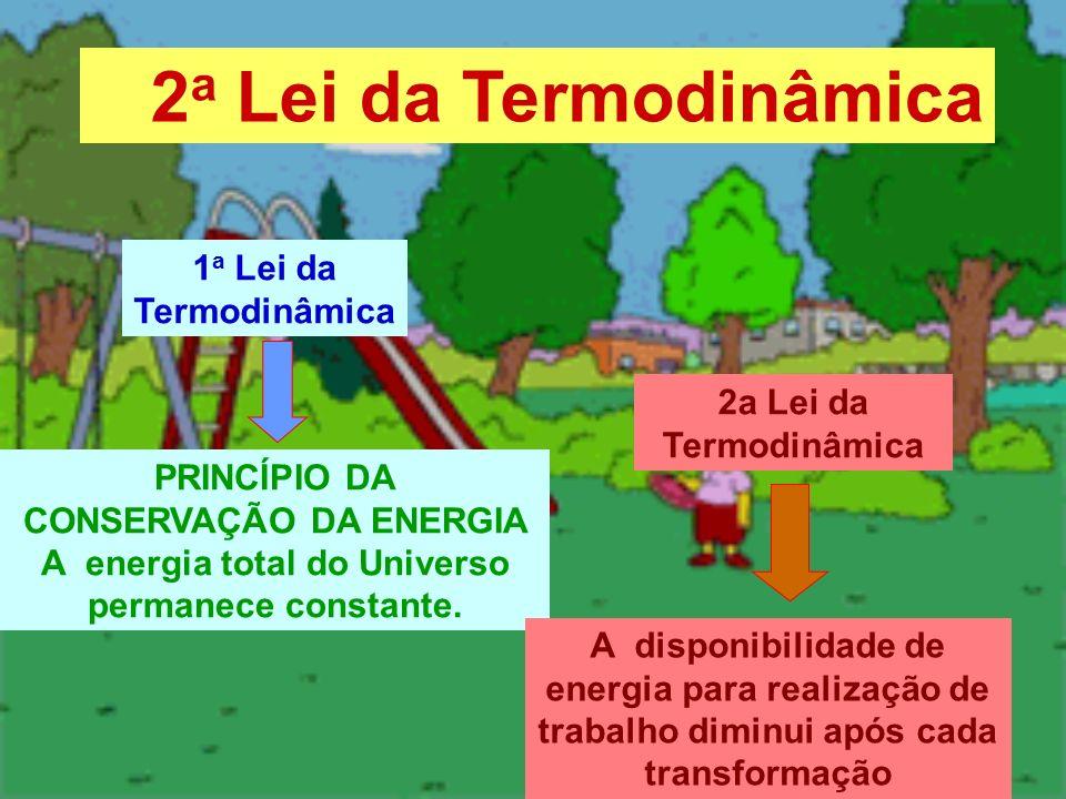 1 a Lei da Termodinâmica PRINCÍPIO DA CONSERVAÇÃO DA ENERGIA A energia total do Universo permanece constante. 2a Lei da Termodinâmica A disponibilidad