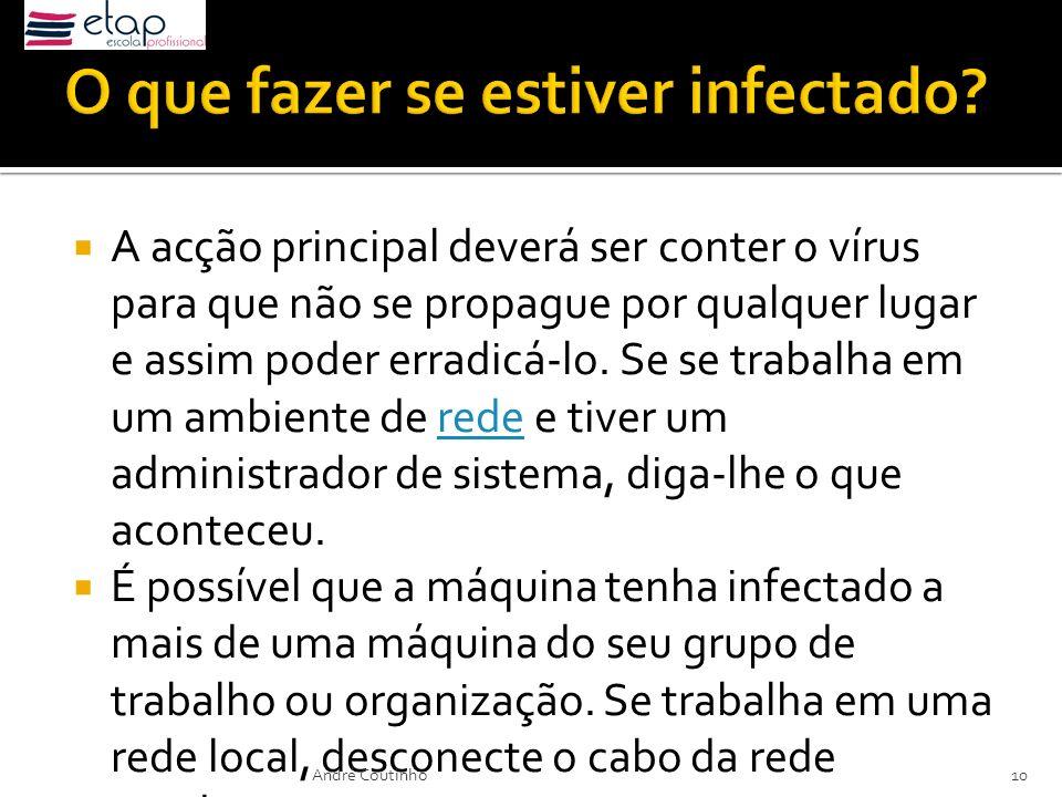 A acção principal deverá ser conter o vírus para que não se propague por qualquer lugar e assim poder erradicá-lo. Se se trabalha em um ambiente de re