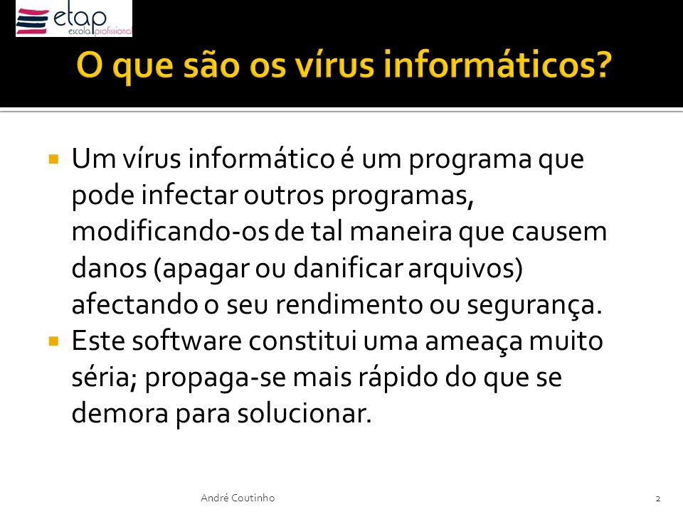 Um vírus informático é um programa que pode infectar outros programas, modificando-os de tal maneira que causem danos (apagar ou danificar arquivos) a