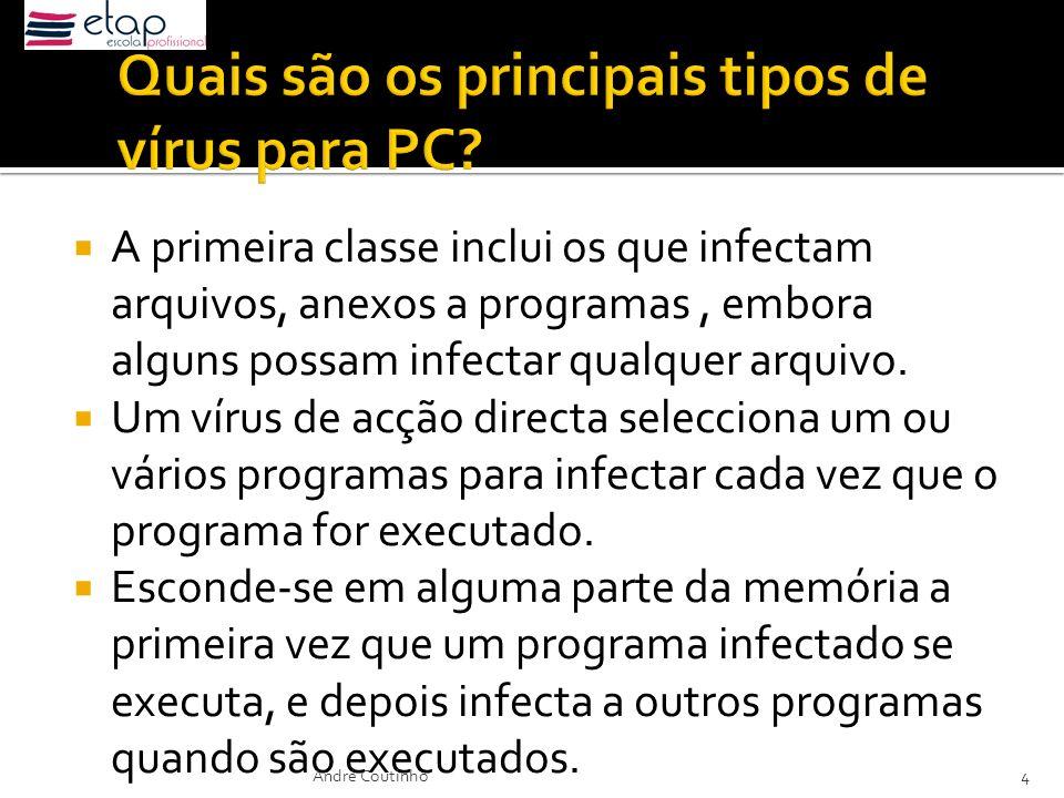 A primeira classe inclui os que infectam arquivos, anexos a programas, embora alguns possam infectar qualquer arquivo. Um vírus de acção directa selec
